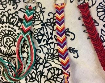 Chevron Woven Knotted Friendship Bracelet Key Chain