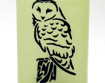 Owl Night Light Screen Printed on Light Green Fused Glass