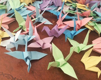 Origami Paper Cranes 9cm X 500 Pastel Colour Mix - Origami Birds - Folded Paper Birds - Wedding Decoration - Baby Shower - Paper Decorations
