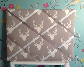 "Stag fabric notice board / memo board 16"" x 12"""