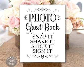 Photo Guest Book Printable Wedding Sign, Black and White, Guest Book Alternative, Choose Your Size (#GUE3B)