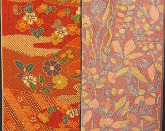Vintage kimono silk fabric-2 pcs #7417