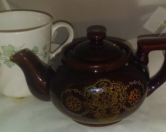 Personal Tea Pot, Brown Glazed Red Ware Pottery, Asian Style, Japan
