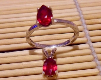 Ruby ring and pendant set 925 sterling silver