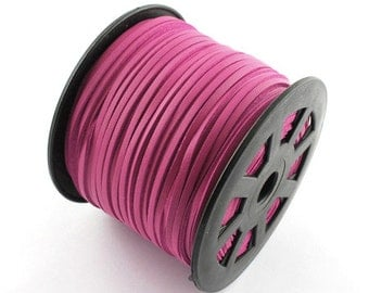 15ft Hot Pink Faux Suede Cord Leather Like 3mm ( No.09)