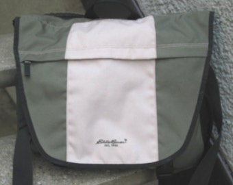 Eddie Bauer Beige and Khaki Nylon Messenger Bag