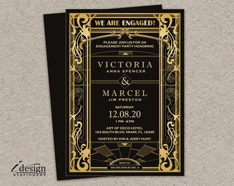 Vintage Art Deco Gatsby Style Engagement Party Invitation | DIY Printable Gold And Black Geometric 1920s Art Nouveau Invite