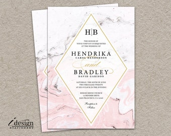 Marble Wedding Invitation   Modern Printable Watercolor Marble Invitations In A Pink Black White And Grey Color Scheme