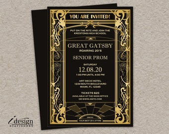 Great Gatsby Prom Invitation | DIY Printable Vintage Art Deco Art Nouveau Roaring 20's Themed Prom Invite In Black & Gold