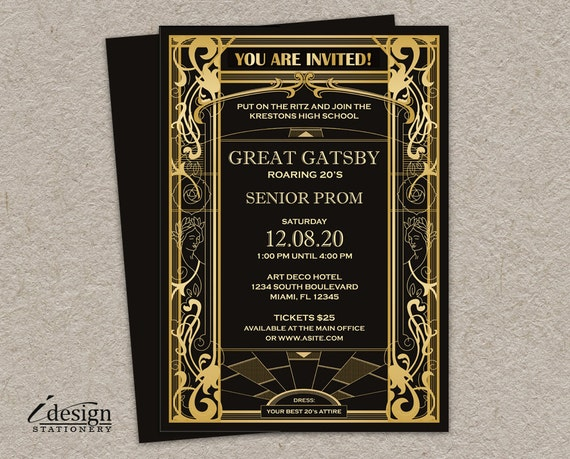 Great Gatsby Wedding Invitation: Great Gatsby Prom Invitation DIY Printable Vintage Art Deco