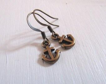 Kleine Anker vintage nickelfreie Ohrhänger Bronze Anchor