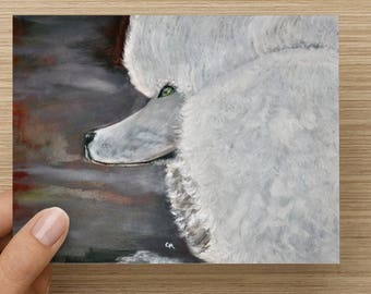 "Standard Poodle ""Allure"" Card 5.5 x 4  From my Oil Painting"