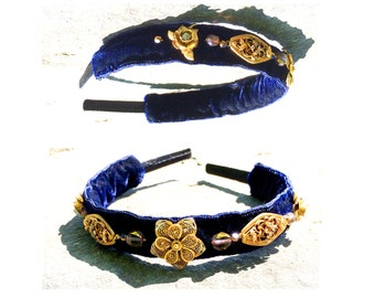 GILDED-MANE Headband w/ Vintage Brass Filigree Flowers