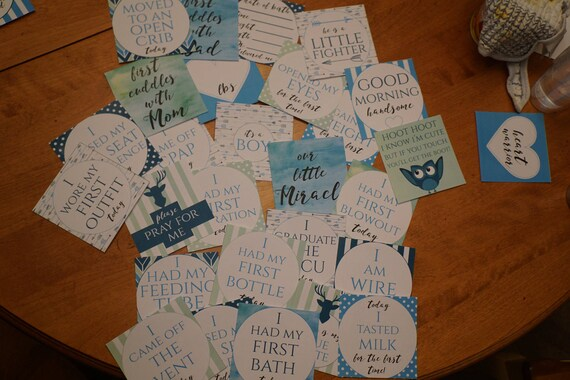 Boy Preemie NICU Milestone Cards and a no touching sign -ALL LAMINIATED