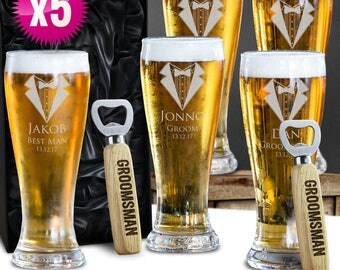 5 x Engraved Schooner Beer Glasses & Free Bottle openers 420ml Groomsman Wedding Gift - With Gift Box Option - Free Shipping Aus Wide