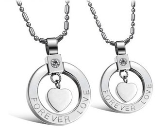 Forever and Always - Couples Necklaces / Girlfriend and Boyfriend Necklaces / His and Hers Necklaces / Matching Jewelry for Couples