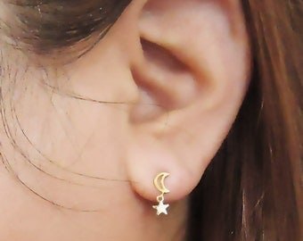 501. Cute Crescent and Star Earrings, Tiny Star and Halfmoon Earrings, Silver post Stud earrings , Gift,Girl friend,friend Gifts