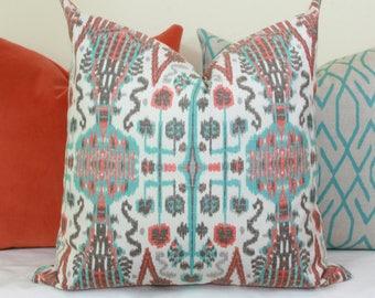 Coral aqua ikat throw pillow cover 18x18 20x20 22x22 24x24 Lacefield pillow Coral pillow Aqua pillow Turquoise pillow Orange ikat pillow