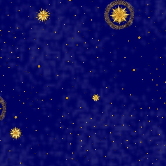 Celestial stars blue 5jyc 2m by in the beginning cotton for Celestial fabric by the yard