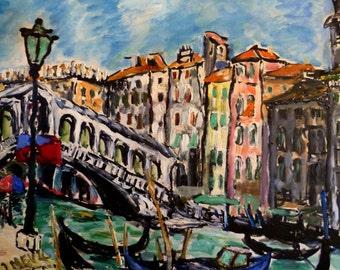 Vintage Mid century modern Ponte Rialto Venice 1956 Oil on board