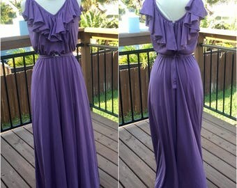 Incredible Vintage Lavender 1970s Farrah Fawcett Glamorous Gown Maxi Dress Enrico Serrati