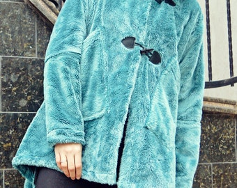 Turquoise Faux Fur Coat / Extravagant Faux Fur Coat / Asymmetrical Winter Coat TC77