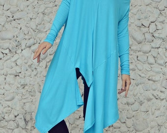 Asymmetrical Light Blue Top / Extravagant Long Light Blue Blouse / Light Blue Turtle Neck Top TT102