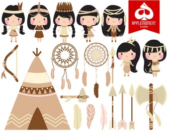 Tribal Princess Digital Clipart for Personal and Commercial Use