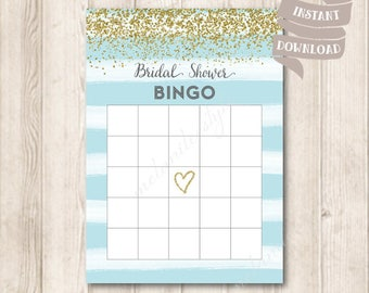 Gold and Blue Bridal Shower Bingo Cards, Gold Glitter, Watercolor Pastel Blue Bridal Shower Party Game Printable, INSTANT DOWNLOAD