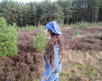 Eco , Upcycled Jeans , dreadlocks , Festival, hippie, hmong hat