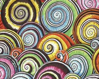 1/2 Yard Spiral Shells in Multi Philip Jacobs  fabric  PJ073