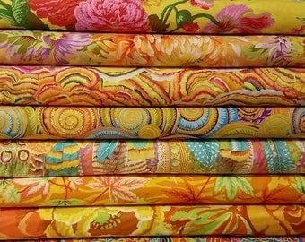 Kaffe Fassett Yellow Fabric Bundle -  12 different fabrics