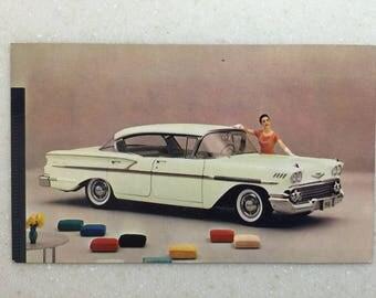 Vintage Automobile Postcard Chevrolet 1958 Bel Air Sport Sedan Honey Beige