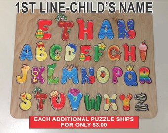 Wooden Childs Name Puzzle with Whimsical Alphabet and Engraved Back for Childs Birthday, Unique Gift for Child