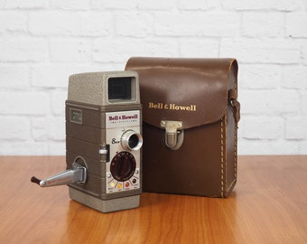 1950s Bell & Howell 252 8mm Movie Camera with Leather Case