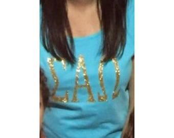 Glitter Monogram or Greek Letter Sorority Shirt Short Sleeve Long Sleeve V-Neck Tan Top Sparkle