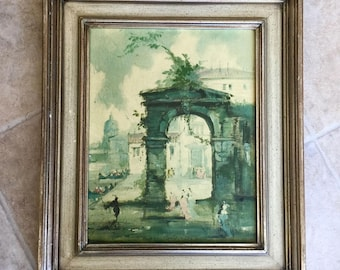 Vintage artist Roderic Montagu framed art  1957 lithograph on board