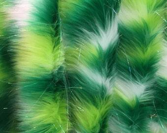 Green tie dye jacquard faux fun fur with metallic threads -yard