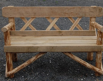 Garden Bench Made From Sweet Chestnut & Oak 4ft  Two Seater.