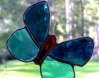 Butterfly in Blue, Stained Glass, Handmade in Australia