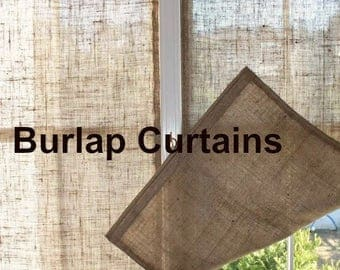 Burlap Panels - Burlap Curtain Panels - Rustic Panel Curtains - Rustic Home Decor - Window Treatment - Window Blind - Set of 2