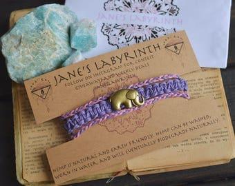 Bronze Elephant. Custom Colours. Hemp Bracelet. Anklet. Wooden Beads. Lavender. Light Pink. Hippie. Boho Jewelry.