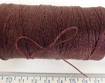 180 yd 3 Ply WAXED Linen - MAROON Bead Cord - Thread  .4mm dia Spool