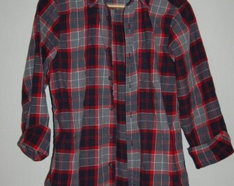 Flannel Shirt with Lace trim  Upcycled  Refashioned Women's Small