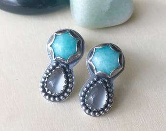 Amazonite and Moonstone Studs / Sterling Silver / Moonstone Earrings / Gemstone Studs / Stone Drop Earrings / Turquoise Blue / Teardrop Stud