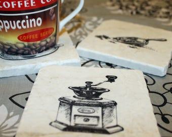 Marble Coaster Set - Vintage Coffee