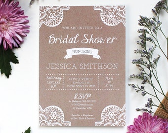 Rustic Lace Bridal Shower Invitation - Customizable and Printable File