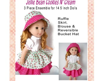 Jellie Bean Cookies N Cream 3 Piece Ensemble 14 Inch Doll Clothing PDF Digital Sewing Pattern Instant Download