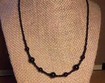 Black Pearls Handmade Beaded Necklace, Simple Pearl Necklace, Rock n Roll, Punk Rock, Pearl Necklace