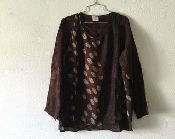 Vintage Blouse - Brown Double Layer